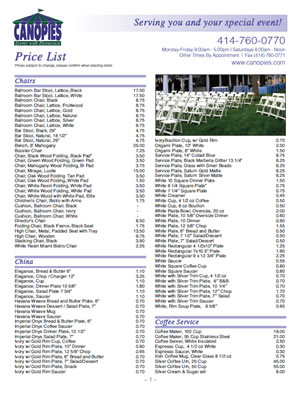 Click on the image below for a downloadable pdf price guide. This price guide is not all inclusive. If you have a need that is not listed in our guide ...  sc 1 st  Canopies - Milwaukee Event Rentals & Canopies - Milwaukee Event Rentals
